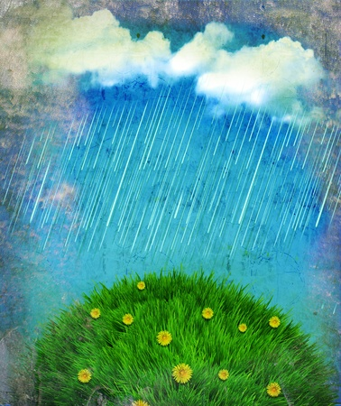 Raining nature landscape.Vintage sky with sun and clouds on old paper Stock Photo - 13567885