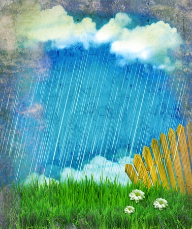 Raining nature landscape.Vintage sky with sun and clouds on old paper Stock Photo - 13567884