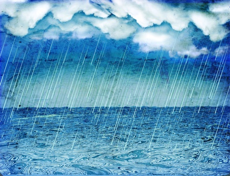 Raining storm in sea.Vintage nature background with dark clouds  photo
