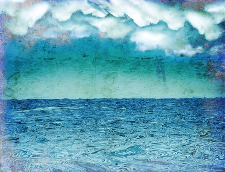 Seascape.Vintage nature background with dark clouds on old paper texture photo