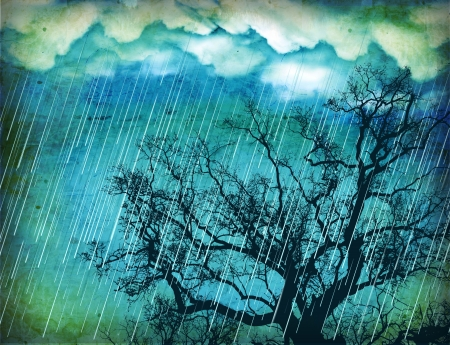 rainfall: Raining sky Vintage nature background with tree and dark clouds on old paper