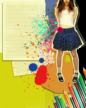 pencil skirt: Girl with fashion skirt.Grunge illustration with papers background and colors pencils for text