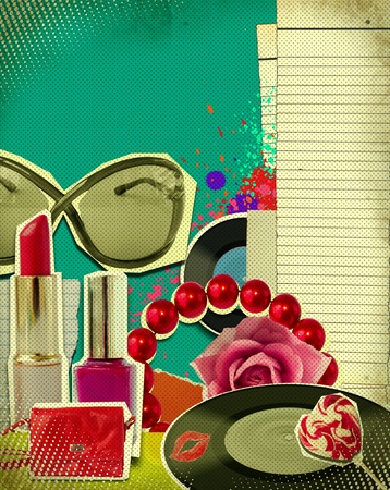 Retro illustration of woman accessories on old paper texture