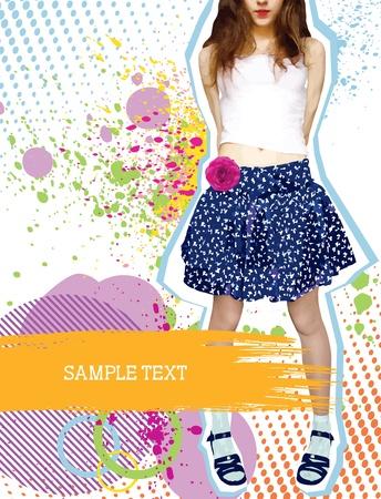 chicas de compras: Chica con estilo agradable en la ropa de moda en blanco con decoraci�n de grunge Vectores