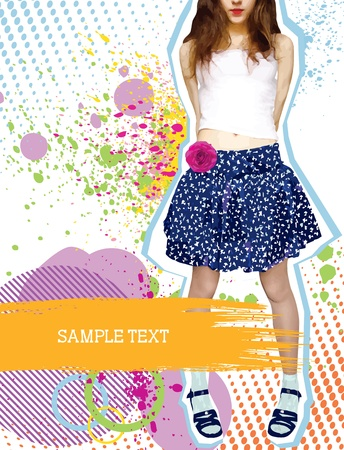 Stylish nice girl in fashion clothes on white with grunge decoration Vector