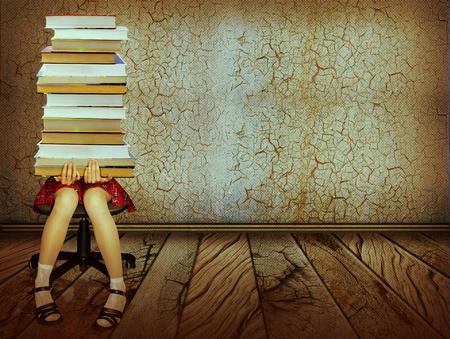 libros viejos: Chica con libros sentado en el piso de madera en el antiguo fondo oscuro del collage room.Grunge