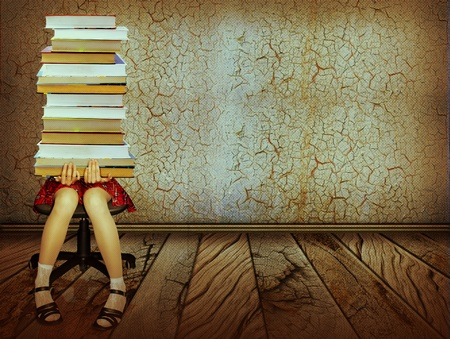 single rooms: Girl with books sitting on wood floor in old dark room.Grunge collage background