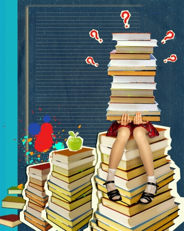 person reading: Teenage sitting on many books on grunge abstract background Stock Photo