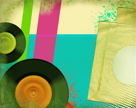 vinyl: Retro music poster Pop art background with music records on old paper texture
