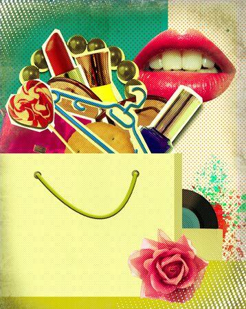 Shopping bag on retro poster Pop art background illustration on old paper texture illustration