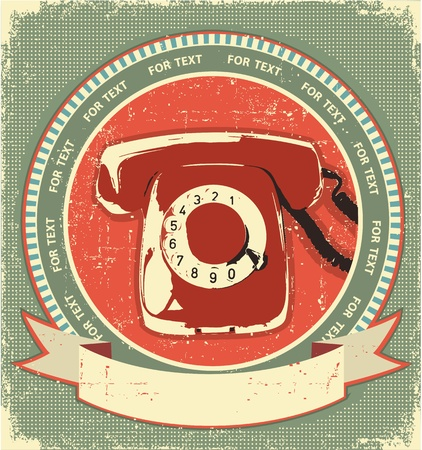 Retro telephon sign.Vintage label background on old paperfor design Stock Vector - 13995335