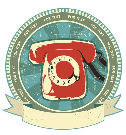 Retro telephon sign.Vintage label background on white Stock Vector - 13995332