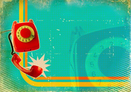 the phone rings: Poster with old fashioned telephone on retro paper texture for text