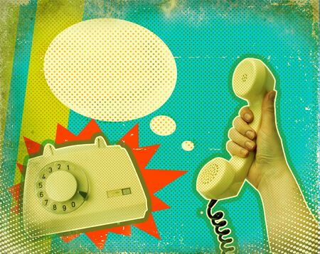 the phone rings: Retro communication poster background.Hand with telephone