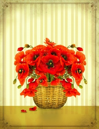 Bouquet of red poppy flowers in basket on vintage card photo