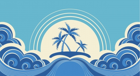 Abstract sea waves. Vector illustration of tropical palms on island Vector