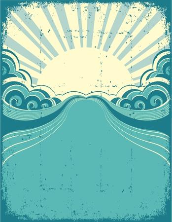 rippled: Grunge manifesto natura sfondo con illustrazione sunshine.Vector Vettoriali
