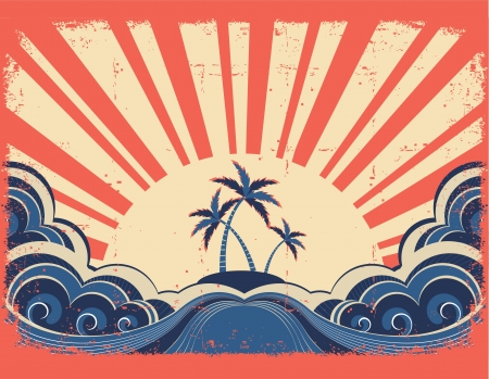 Paradise island on grunge paper background with sunrise Vector