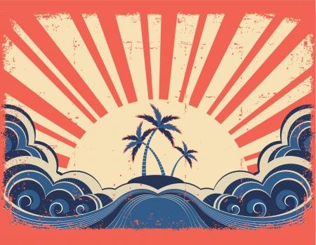 Paradise island on grunge paper background with sunrise Stock Vector - 14704912
