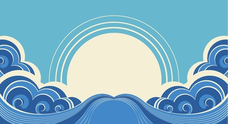 Abstract sea waves. Vector illustration of sea landscape background Vector