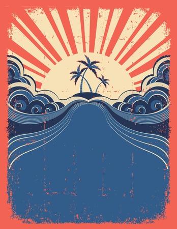 tide: Fondo tropical con palmeras en el p�ster del grunge Vectores