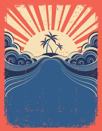 Tropical background with palms on grunge poster Stock Vector - 14704915