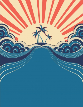 tidal wave: Tropical background with palms and sunshine.Vector illustration