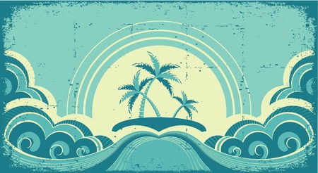 Vintage seascape with tropical palms on island on old paper Vector