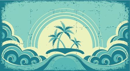 Vintage zeegezicht met tropische palmen op het eiland op oud papier Vector Illustratie