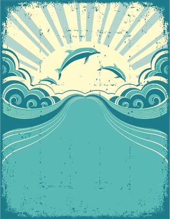 ocean waves: Grunge nature poster background with dolphins in sea and sunshine.Vector illustration Illustration