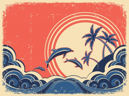 Seascape waves poster with dolphins. Vector grunge illustration on old paper texrture