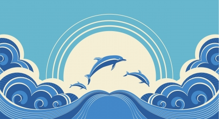 Blue dolphins jumping in sea in summer day Vector