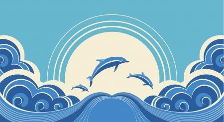 delfin: Niebieskie delfiny skoków w morzu w letni dzień Ilustracja