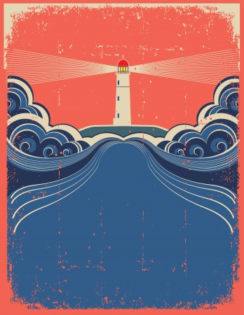 dirty house: Lighthouse with blue sea.Vector grunge background for design of symbol card