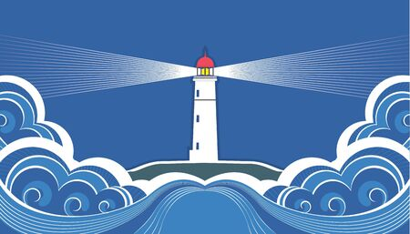 lighthouse beam: Lighthouse with blue sea.Vector symbol card  Illustration