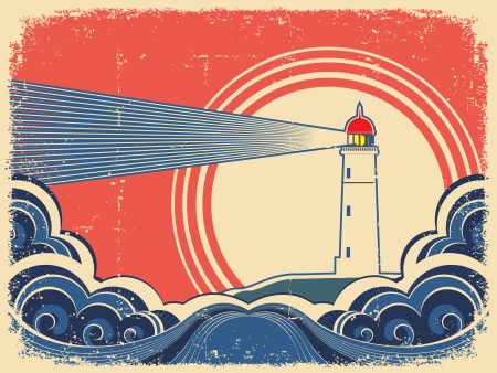 lighthouse beam: Lighthouse with blue sea.Vector grunge background for design of symbol card