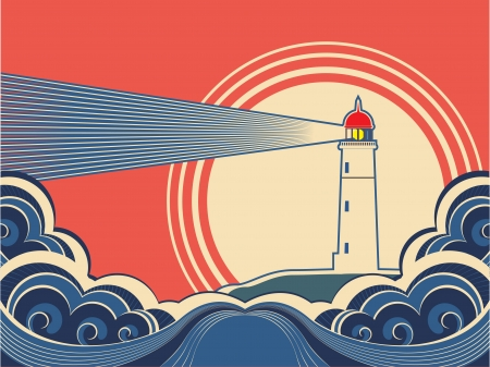 lighthouse beam: Lighthouse with blue sea.Vector color nature poster Illustration