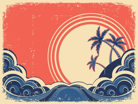 Tropical island with palms.Vector grunge illustration on old paper Vector