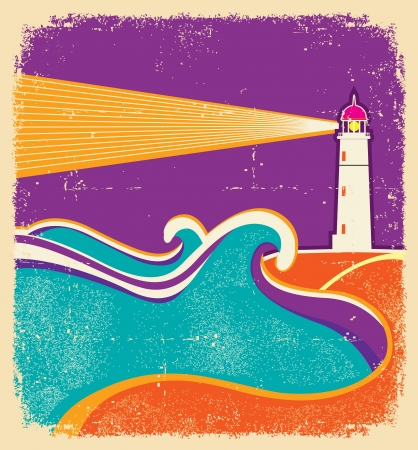 hope symbol of light: Seascape horizon. Illustration
