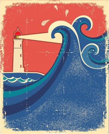 lighthouse at night: Faro y las olas del mar. Vectores