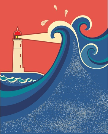 Lighthouse and sea waves.