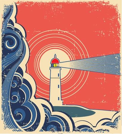 Leuchtturm mit blauem Meer. Vektorgrafik