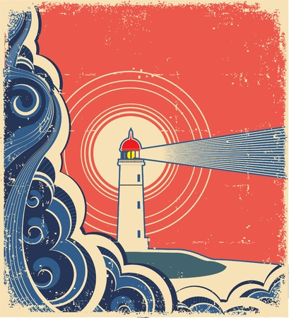 dirty house: Lighthouse with blue sea. Illustration