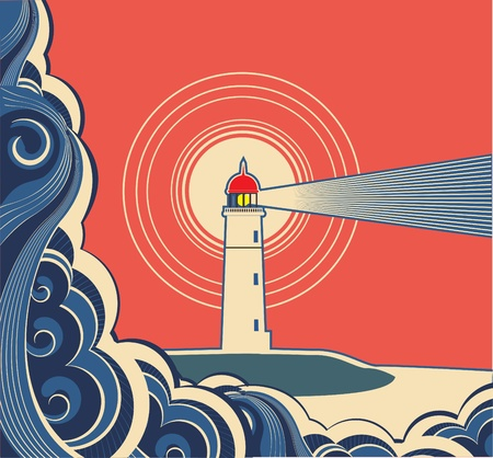 Lighthouse with blue sea. Illustration