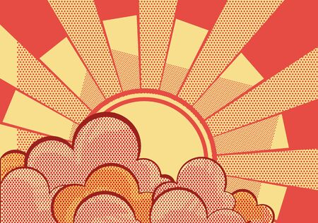 Retro clouds poster.Cartoons grunge background with sunlight  Vector