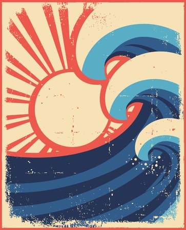 Sea waves poster.Grunge illustration of sea landscape on old paper. Vector