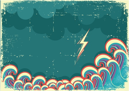 sea disaster: Storm in ocean with waves and lightning. Grunge image Illustration