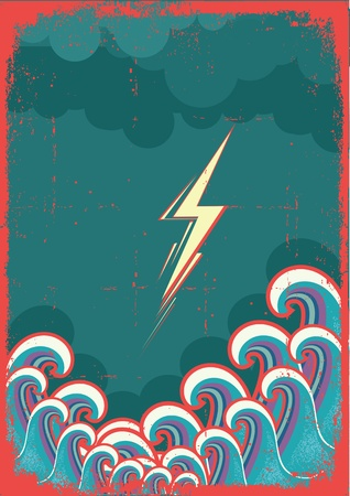 Storm in ocean with waves and lightning. Grunge image Stock Vector - 14976128