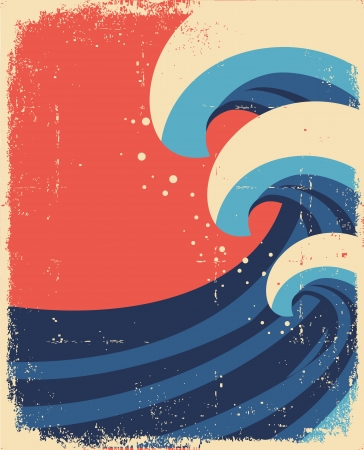 Sea waves poster Grunge illustration of sea landscape on old paper Stock Vector - 14976151