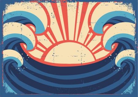 Sea poster Grunge illustration of sea landscape on old paper  Ilustracja